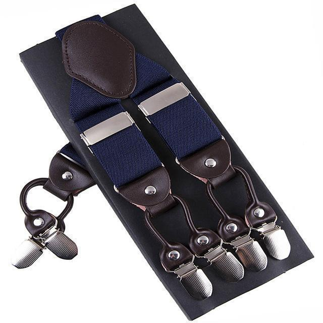Fashion Suspenders leather alloy 6 clips Braces Male Vintage Casual suspensorio Trousers Strap Father/Husband's Gift 3.5*120cm-Blue-JadeMoghul Inc.
