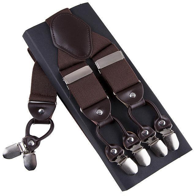 Fashion Suspenders leather alloy 6 clips Braces Male Vintage Casual suspensorio Trousers Strap Father/Husband's Gift 3.5*120cm-Brown-JadeMoghul Inc.
