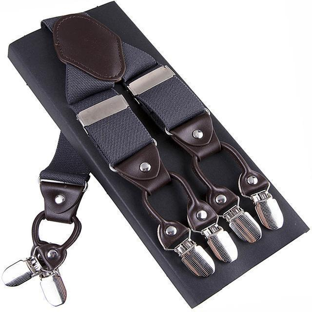 Fashion Suspenders leather alloy 6 clips Braces Male Vintage Casual suspensorio Trousers Strap Father/Husband's Gift 3.5*120cm-Dark Grey-JadeMoghul Inc.