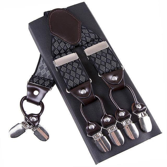 Fashion Suspenders leather alloy 6 clips Braces Male Vintage Casual suspensorio Trousers Strap Father/Husband's Gift 3.5*120cm-Gray-JadeMoghul Inc.