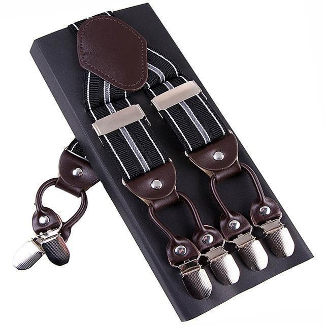 Fashion Suspenders leather alloy 6 clips Braces Male Vintage Casual suspensorio Trousers Strap Father/Husband's Gift 3.5*120cm-Multi-JadeMoghul Inc.
