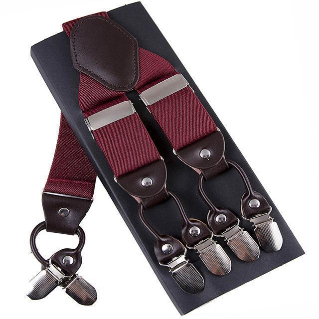 Fashion Suspenders leather alloy 6 clips Braces Male Vintage Casual suspensorio Trousers Strap Father/Husband's Gift 3.5*120cm-Red-JadeMoghul Inc.