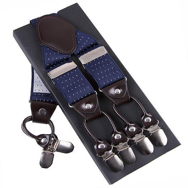 Fashion Suspenders leather alloy 6 clips Braces Male Vintage Casual suspensorio Trousers Strap Father/Husband's Gift 3.5*120cm-Sky Blue-JadeMoghul Inc.