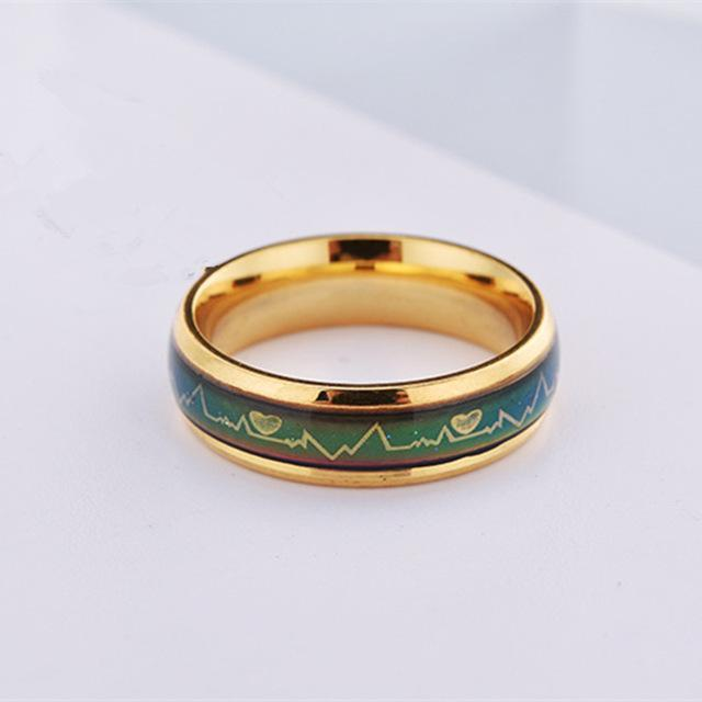 Fashion Titanium Black Mood Rings Temperature Emotion Feeling Engagement Rings Women Men 2017 Promise Rings For Couples Jewelry-6-6mm Gold-JadeMoghul Inc.