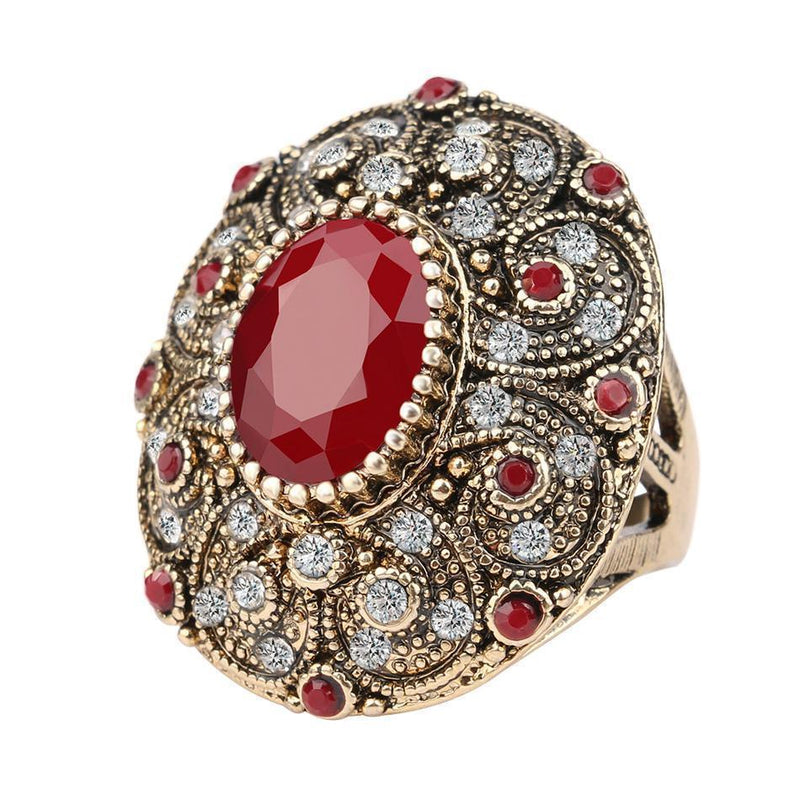 Fashion Vintage Jewelry Rings Unique Plated Ancient Gold Mosaic AAA Crystal Big Oval Ring For Women 2016 New Anillo-7-Red-JadeMoghul Inc.