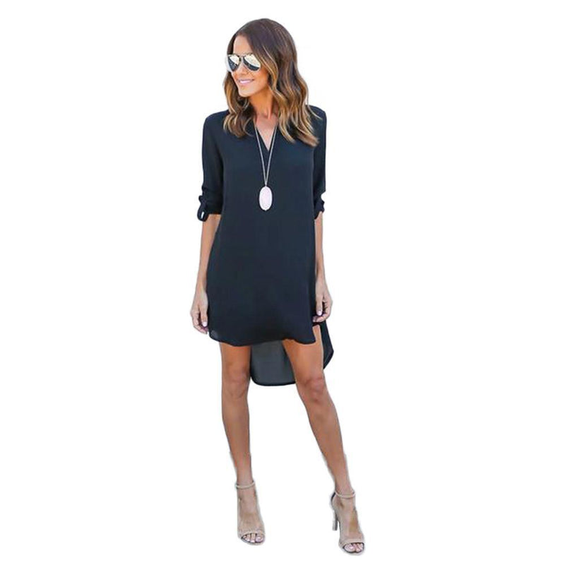 Fashion Women Casual Elegant Dress - Long Sleeve Chiffon Dress-Black-S-JadeMoghul Inc.