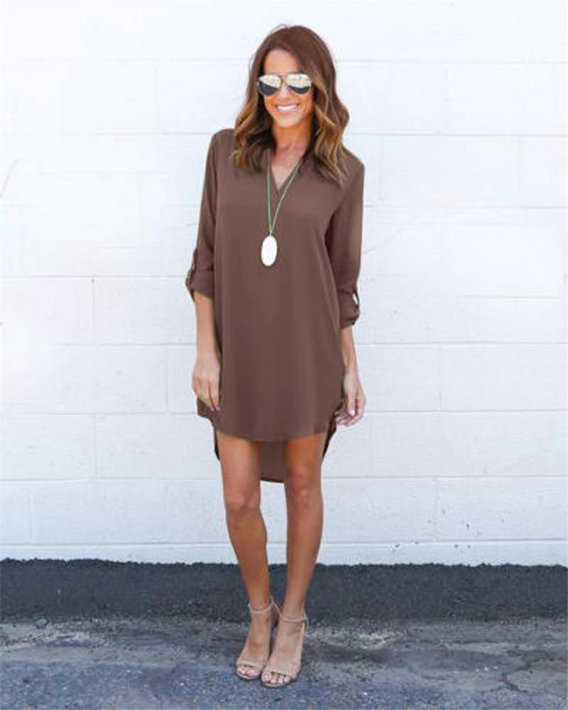Fashion Women Casual Elegant Dress - Long Sleeve Chiffon Dress-coffee-S-JadeMoghul Inc.