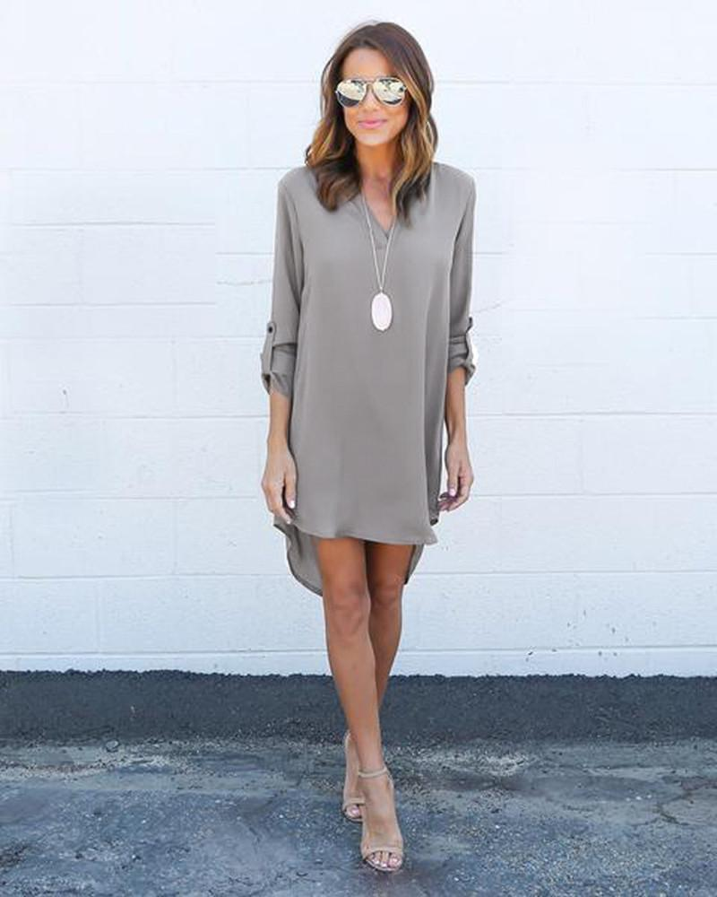 Fashion Women Casual Elegant Dress - Long Sleeve Chiffon Dress-Gray-S-JadeMoghul Inc.