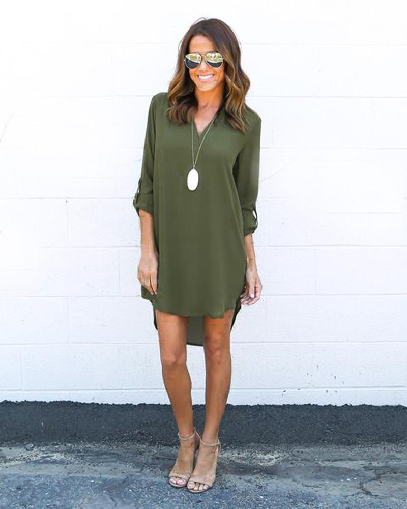 Fashion Women Casual Elegant Dress - Long Sleeve Chiffon Dress-Green-S-JadeMoghul Inc.