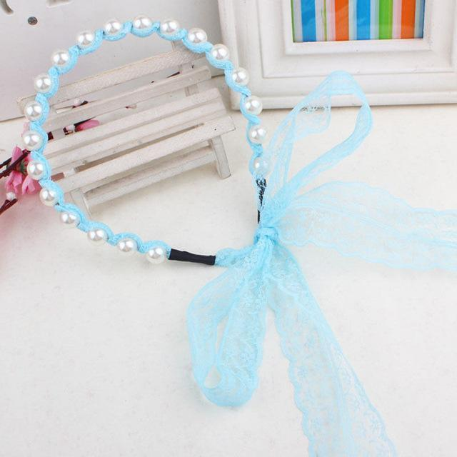 Fashion Women Lace Headbands Hair Accessories Imitated Pearl Scrunchy Hair Bows Elastic Hair Bands Flower Hairbands-Light Blue-JadeMoghul Inc.