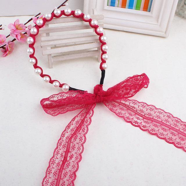 Fashion Women Lace Headbands Hair Accessories Imitated Pearl Scrunchy Hair Bows Elastic Hair Bands Flower Hairbands-Red-JadeMoghul Inc.
