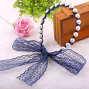 Fashion Women Lace Headbands Hair Accessories Imitated Pearl Scrunchy Hair Bows Elastic Hair Bands Flower Hairbands-Royal Blue-JadeMoghul Inc.