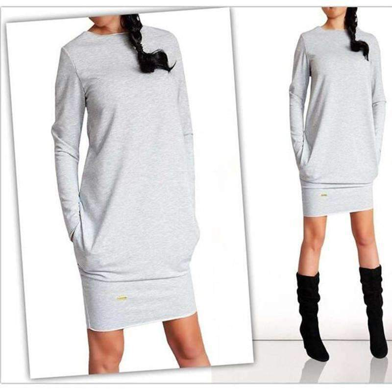 Fashion Women Long Sleeve Casual Pocket Dress-Light Gray-S-JadeMoghul Inc.