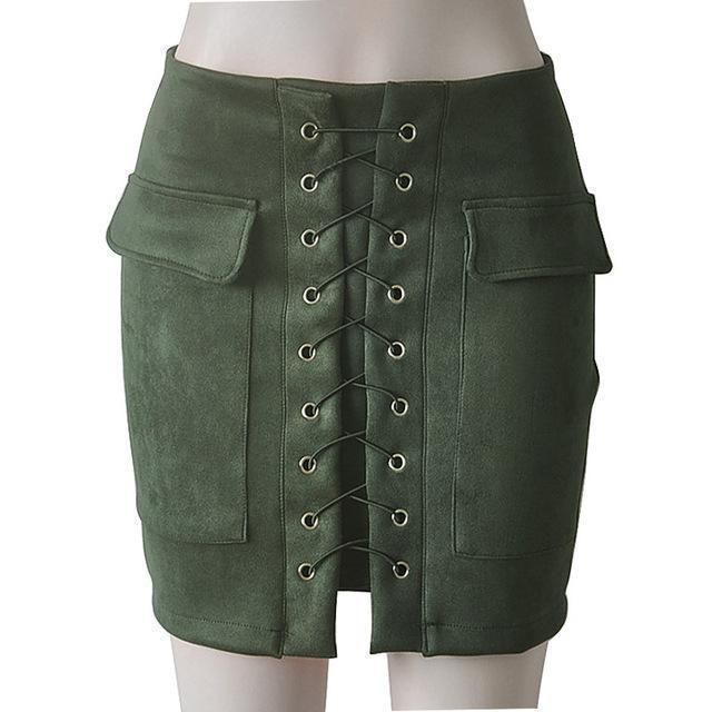 Fashion Womens Autumn Lace-up Leather Suede Pencil Skirts Winter Cross High Waist Mini Skirt Zipper Split Bodycon Short Skirts-ArmyGreen-L-JadeMoghul Inc.