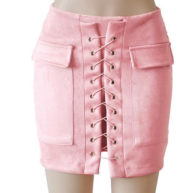 Fashion Womens Autumn Lace-up Leather Suede Pencil Skirts Winter Cross High Waist Mini Skirt Zipper Split Bodycon Short Skirts-Baby Pink-L-JadeMoghul Inc.
