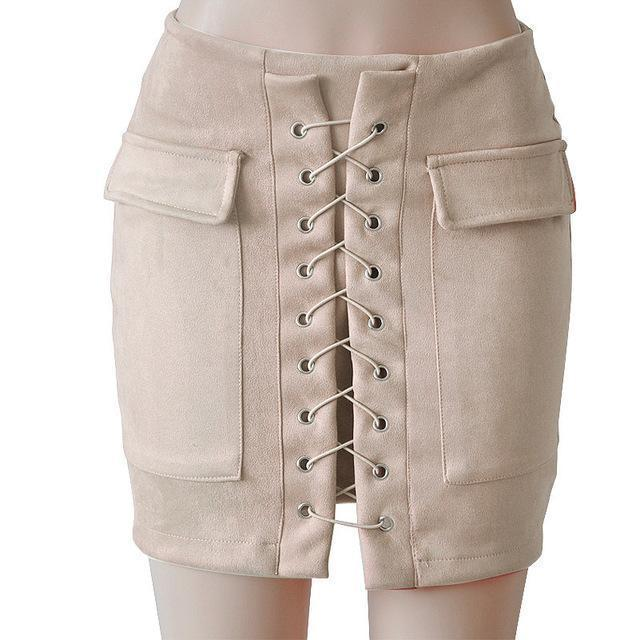 Fashion Womens Autumn Lace-up Leather Suede Pencil Skirts Winter Cross High Waist Mini Skirt Zipper Split Bodycon Short Skirts-Beige-L-JadeMoghul Inc.