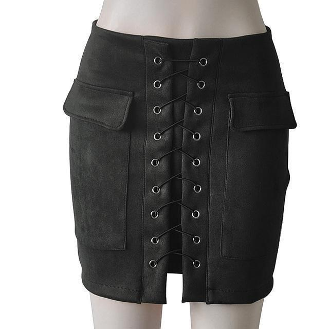 Fashion Womens Autumn Lace-up Leather Suede Pencil Skirts Winter Cross High Waist Mini Skirt Zipper Split Bodycon Short Skirts-Black-L-JadeMoghul Inc.