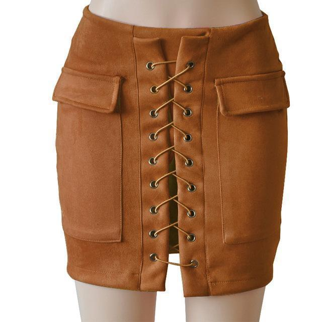 Fashion Womens Autumn Lace-up Leather Suede Pencil Skirts Winter Cross High Waist Mini Skirt Zipper Split Bodycon Short Skirts-Camel-L-JadeMoghul Inc.