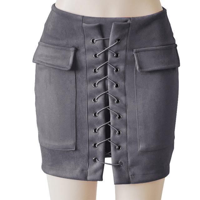 Fashion Womens Autumn Lace-up Leather Suede Pencil Skirts Winter Cross High Waist Mini Skirt Zipper Split Bodycon Short Skirts-Dark Grey-L-JadeMoghul Inc.