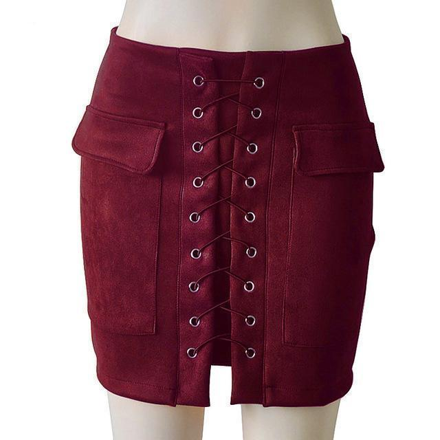 Fashion Womens Autumn Lace-up Leather Suede Pencil Skirts Winter Cross High Waist Mini Skirt Zipper Split Bodycon Short Skirts-Dark Red-L-JadeMoghul Inc.