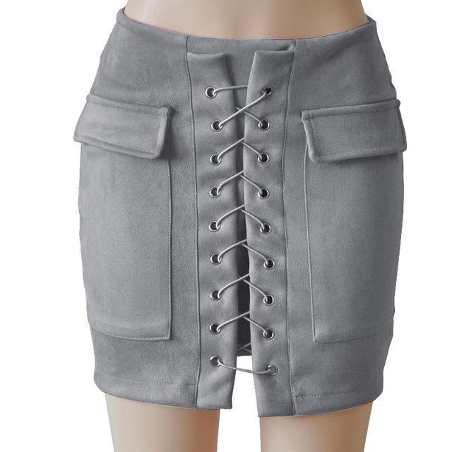 Fashion Womens Autumn Lace-up Leather Suede Pencil Skirts Winter Cross High Waist Mini Skirt Zipper Split Bodycon Short Skirts-Grey-L-JadeMoghul Inc.