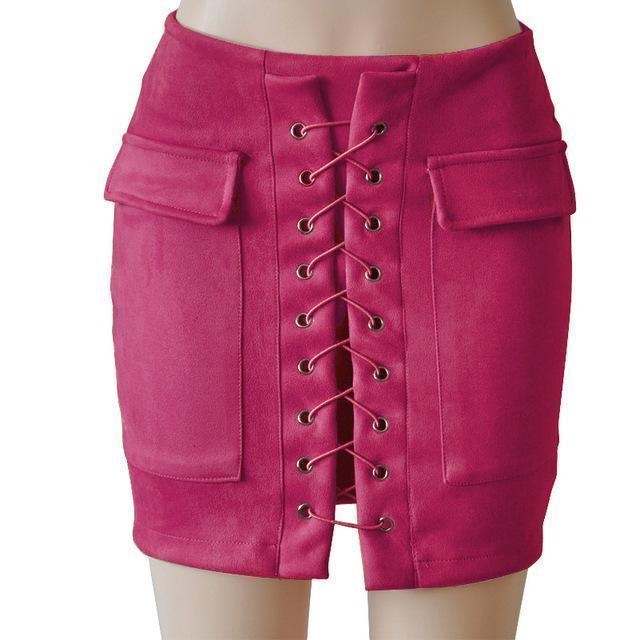 Fashion Womens Autumn Lace-up Leather Suede Pencil Skirts Winter Cross High Waist Mini Skirt Zipper Split Bodycon Short Skirts-Hot Pink-L-JadeMoghul Inc.