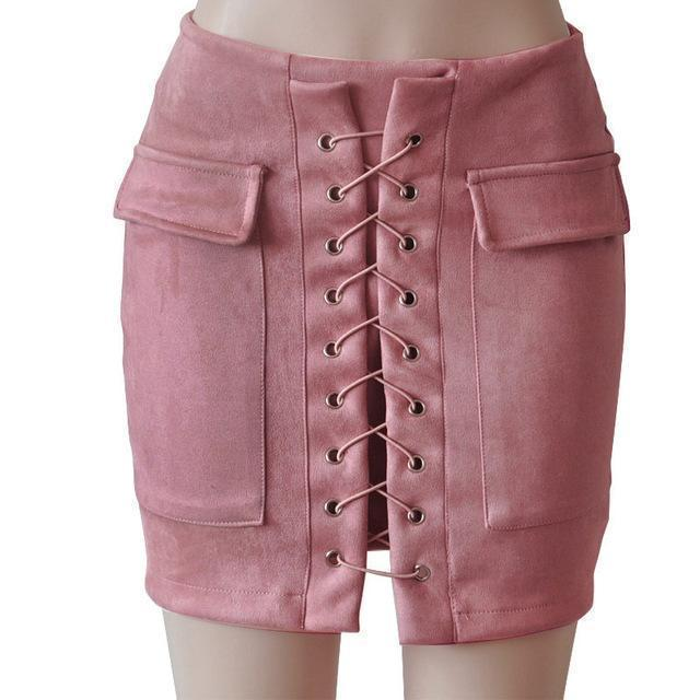 Fashion Womens Autumn Lace-up Leather Suede Pencil Skirts Winter Cross High Waist Mini Skirt Zipper Split Bodycon Short Skirts-Light Pink-L-JadeMoghul Inc.