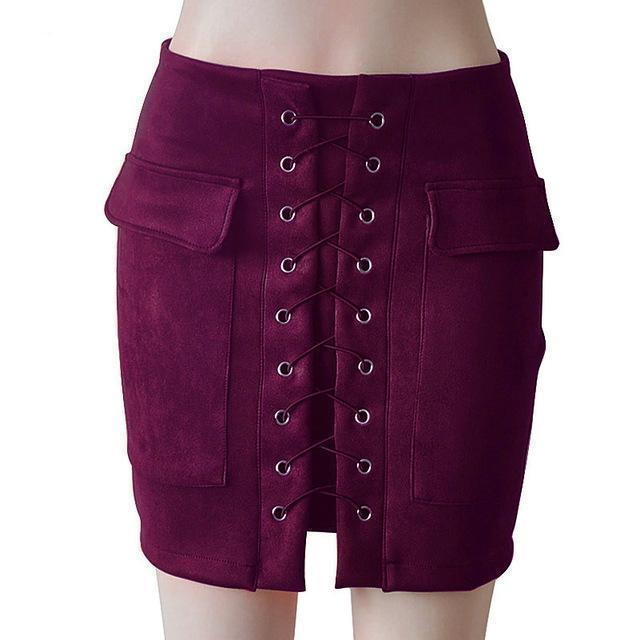 Fashion Womens Autumn Lace-up Leather Suede Pencil Skirts Winter Cross High Waist Mini Skirt Zipper Split Bodycon Short Skirts-Purple-L-JadeMoghul Inc.