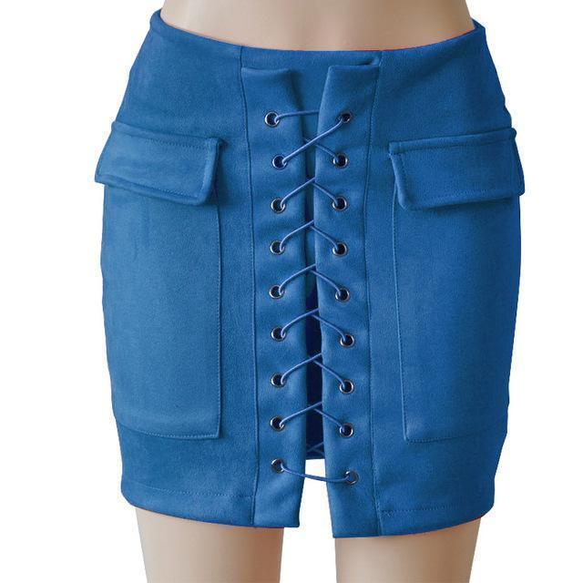 Fashion Womens Autumn Lace-up Leather Suede Pencil Skirts Winter Cross High Waist Mini Skirt Zipper Split Bodycon Short Skirts-Royal blue-L-JadeMoghul Inc.