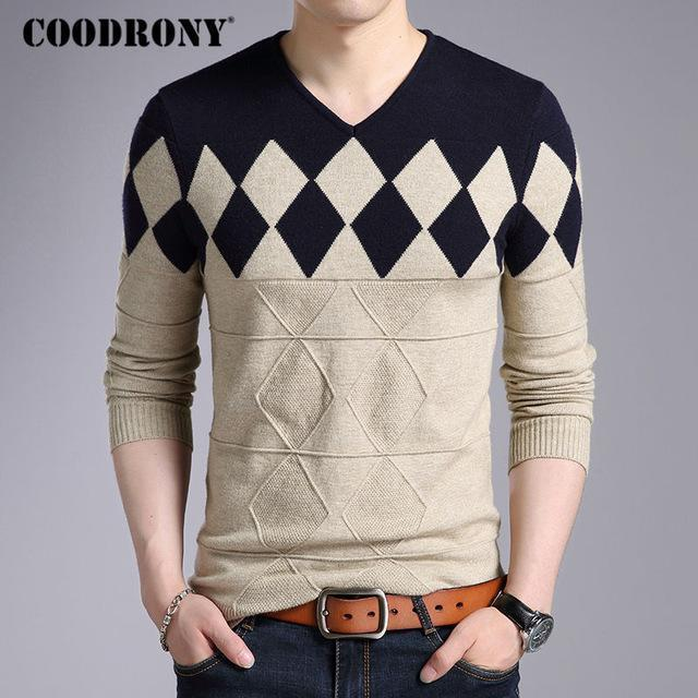 Fashionable Cashmere Wool Sweater For Men / Winter Slim Fit Pullover-Khaki-S-JadeMoghul Inc.