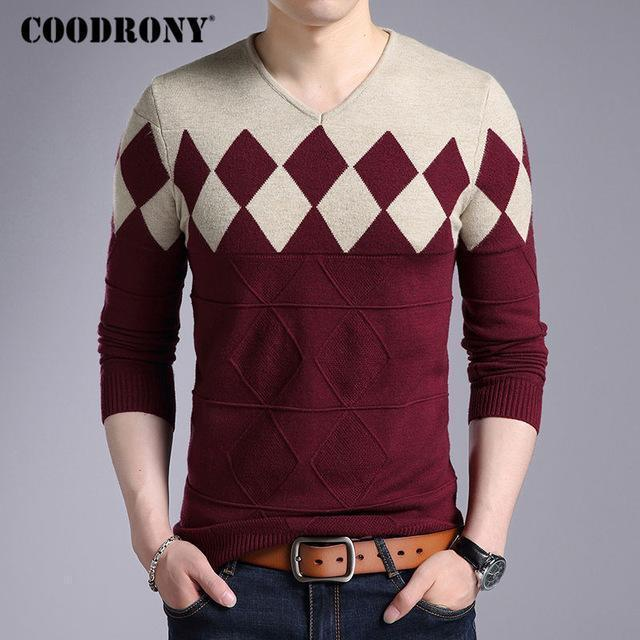 Fashionable Cashmere Wool Sweater For Men / Winter Slim Fit Pullover-Wine-S-JadeMoghul Inc.