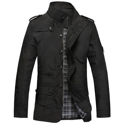 Fashionable Men Jacket Casual Wear / Thin Spring Coat-Black-L-China-JadeMoghul Inc.