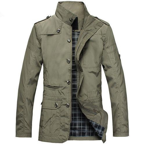 Fashionable Men Jacket Casual Wear / Thin Spring Coat-Khaki-L-China-JadeMoghul Inc.