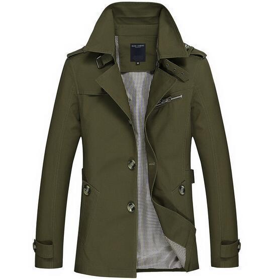 Fashionable Men Upscale Winter Slim Fit Casual Trench Coat / Long Jacket-army green-S-JadeMoghul Inc.