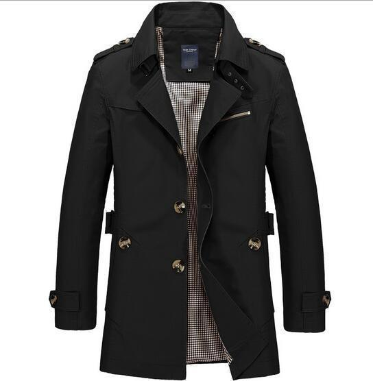 Fashionable Men Upscale Winter Slim Fit Casual Trench Coat / Long Jacket-Black-S-JadeMoghul Inc.