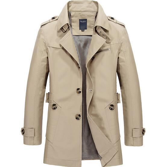 Fashionable Men Upscale Winter Slim Fit Casual Trench Coat / Long Jacket-Light khaki-S-JadeMoghul Inc.