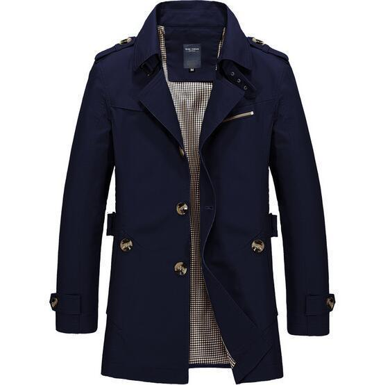 Fashionable Men Upscale Winter Slim Fit Casual Trench Coat / Long Jacket-navy blue-S-JadeMoghul Inc.