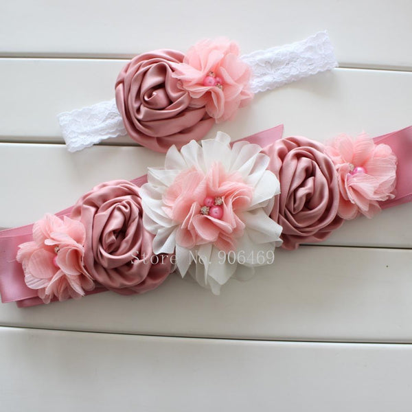 Fashionable Vintage Pink/Ivory Flower Belt For Ladies-Vintage Pink ivory-120cm-JadeMoghul Inc.