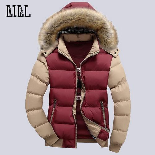 Fashionable Winter Down Jacket With Fur Hood For Men / Casual Slim Outwear Coat-blue sleeve-M-JadeMoghul Inc.
