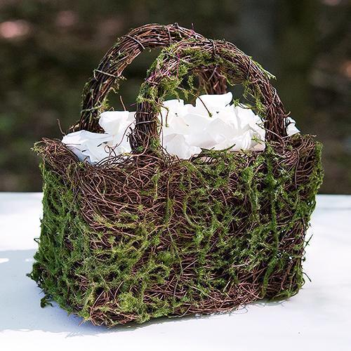 Faux Moss and Wicker Basket with Handles and Liner (Pack of 1)-Table Top Décor-JadeMoghul Inc.