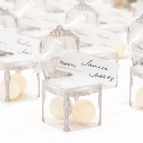 Favor Transparent Chair Favor Boxes Smoke Grey (Pack of 10) JM Weddings