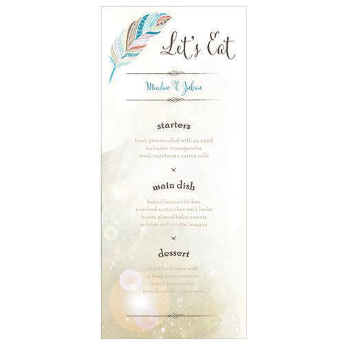 Feather Whimsy Menu Card Sea Blue (Pack of 1)-Reception Stationery-JadeMoghul Inc.