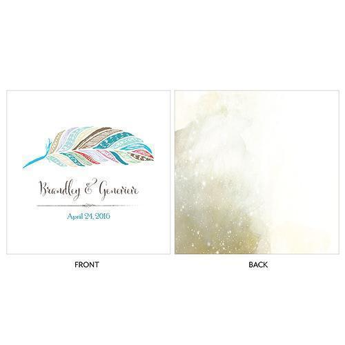 Feather Whimsy Personalized Clear Acrylic Block Cake Topper Sea Blue (Pack of 1)-Wedding Cake Toppers-Sea Blue-JadeMoghul Inc.