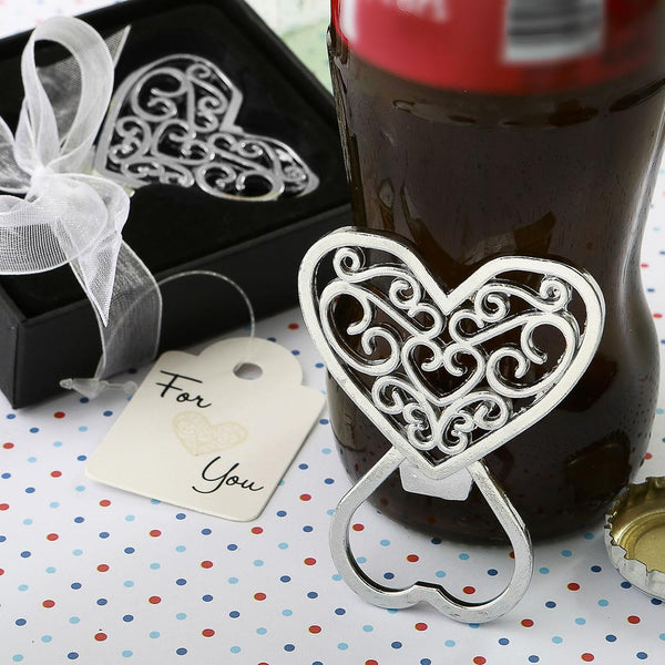 Filigree heart design chrome metal bottle opener from fashioncraft-Personalized Coasters-JadeMoghul Inc.
