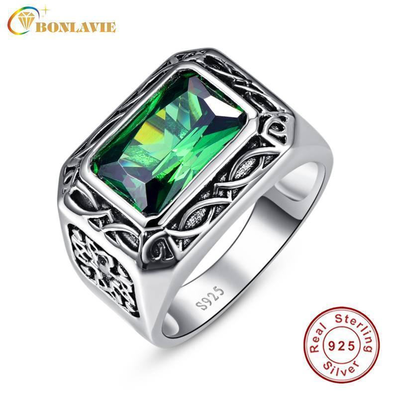 Fine 6.8Ct Nano Russian Emerald Ring For Men Solid 925 Sterling Sliver Jewelry Engagement Wedding Ring For Men Size 6-Size14-10-925 Silver Ring-JadeMoghul Inc.