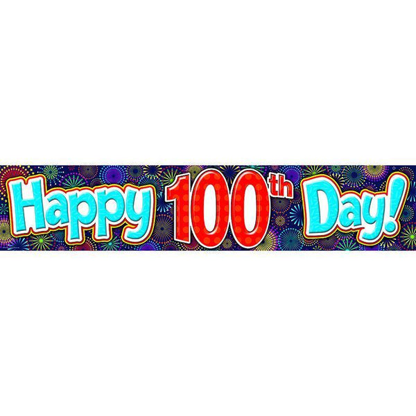 FIREWORKS HAPPY 100TH DAY BANNER-Learning Materials-JadeMoghul Inc.