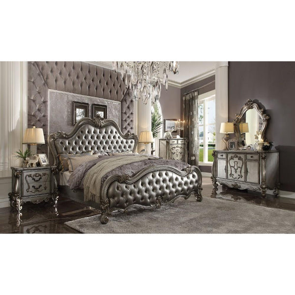 Five Drawer Chest With Oversized Scrolled Legs, Antique Platinum-Cabinet & Storage Chests-Gray-Wood, Poly Resin-JadeMoghul Inc.