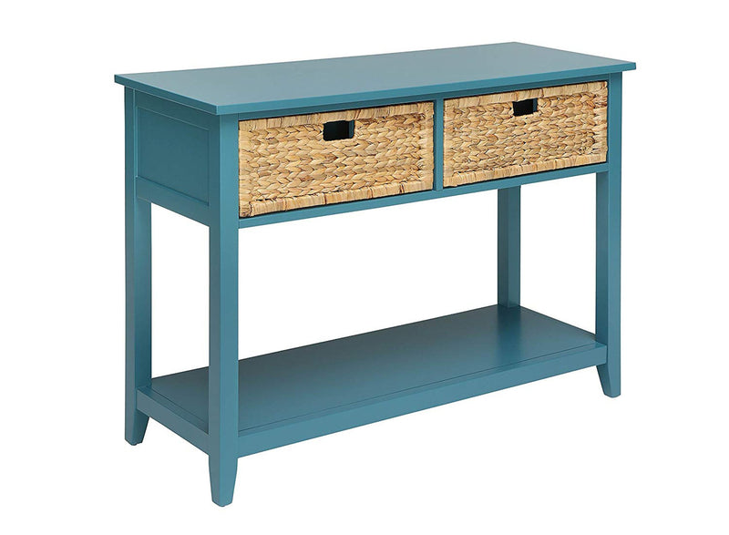 Flavius Console Table with 2 Drawers, Blue-Console Tables-Blue-Solid Wood Leg Wood Veneer MDF Basket Front-JadeMoghul Inc.
