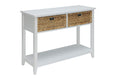 Flavius Console Table with 2 Drawers, White-Console Tables-White-Solid Wood Leg Wood Veneer MDF Basket Front-JadeMoghul Inc.