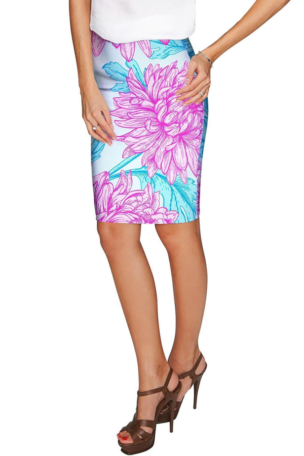 Floral Bliss Carol Knee Length Catchy Pencil Skirt - Women-Floral Bliss-XS-Blue/Pink-JadeMoghul Inc.